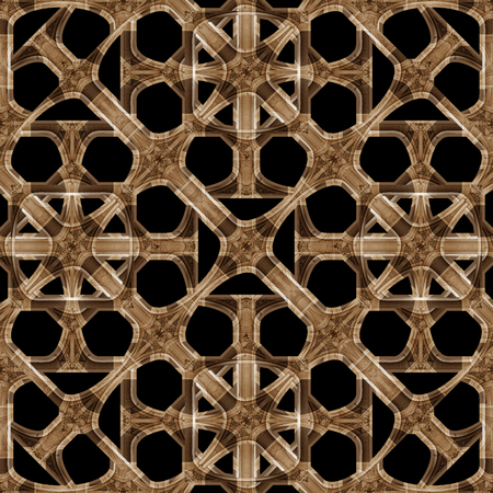 Digital art style interlaced abstract geometric seamless pattern mosaic in brown and black colors