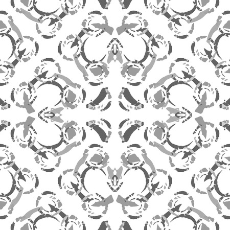 Digital art technique ornate seamless pattern design in grey and white colors