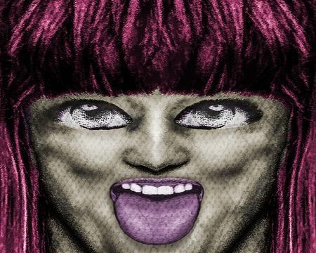Digital art pop art photo collage manipulation technique teen portrait close up with daring expression