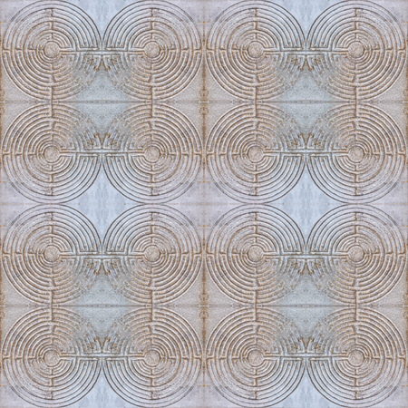 Digital photo manipulation technique labyrinth motif seamless pattern background design in dull mixed colors
