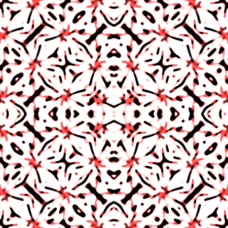 Digital collage technique high contrast ornate seamless pattern mosaic design in red tones over white background Banco de Imagens