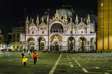 VENICE, ITALY, JANUARY - 2018 - Midnight scene at piazza san marcos with famous san marcos basilica at venice city, Italy Editorial