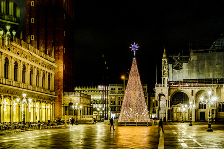 VENICE, ITALY, JANUARY - 2018 - Christmas time midnight scene at piazza san marcos with famous san marcos basilica at venice city, Italy Editorial
