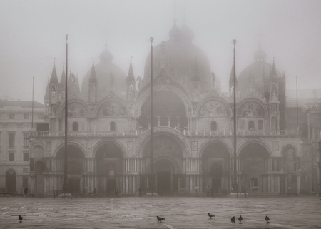 Winter foggy scene at piazza san marcos in venice city, Italy Editorial