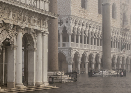 Foggy winter scene at piazza san marcos at venice city, Italy