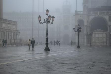 VENICE, ITALY, JANUARY - 2018 - Winter foggy scene at piazza san marcos in venice city, Italy Editorial