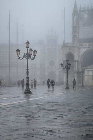 VENICE, ITALY, JANUARY - 2018 - Winter foggy scene at piazza san marcos in venice city, Italy Editorial