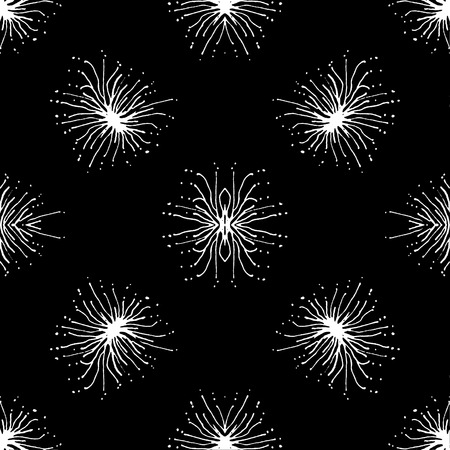 Hand draw radial shape stars motif black and white seamless pattern design Stock Photo