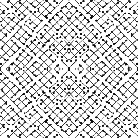 Hand draw intersecting linear motif black and white seamless pattern design
