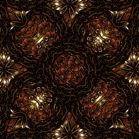 Digital art modern ornate abstract seamless pattern design in dark warm colors