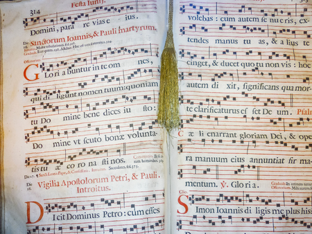 Gregorian style ancient music sheet detail view Stock Photo
