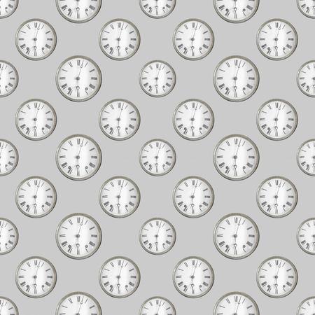 Conversational seamless pattern design clock photo motig design in grey colors Stok Fotoğraf