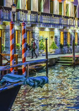 VENICE, ITALY, JANUARY - 2018 - Night scene at grand canal in venice city, Italy Editöryel