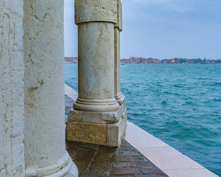 Shore of grand canal at venice city.
