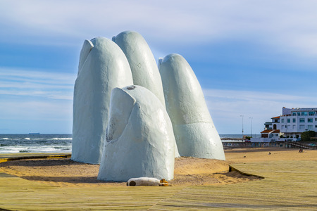 Finger most famous landmark monument located at la brava beach in punta del este city, Uruguay