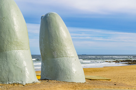 Finger most famous landmark monument located at la brava beach in punta del este city, Uruguay