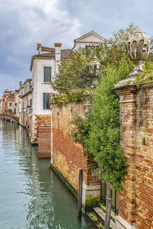 Winter urban scene at small channel at venice city, Italy