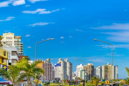 PUNTA DEL ESTE, URUGUAY, OCTOBER - 2018 - Winter day urban scene at Punta del Este city, Uruguay