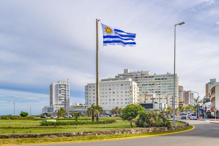 PUNTA DEL ESTE, URUGUAY, OCTOBER - 2018 - Winter day urban scene at Punta del Este city, Uruguay Editorial