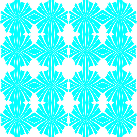 Digital abstract geometric seamless pattern background design in cyan and white colors Stock Photo