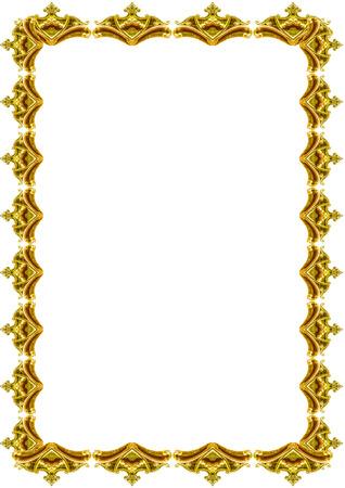 Fond de cadre blanc avec bordures dorées au design décoré.