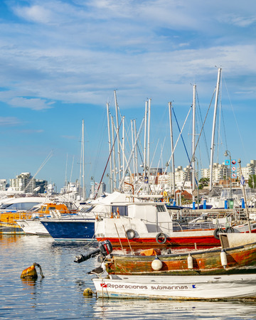 PUNTA DEL ESTE, URUGUAY, OCTOBER - 2018 - Boats parked at port in punta del este city, Uruguay