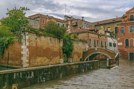 Architectural urban scene at historic center of venice city, Italy