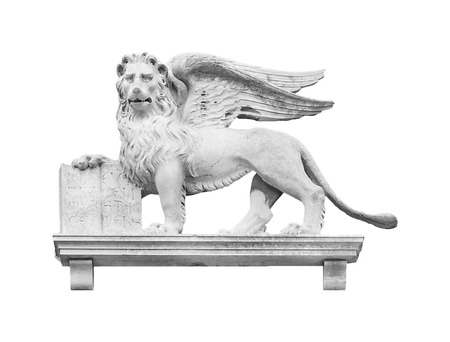 Venetian symbolic winged lion sculpture isolated on white background