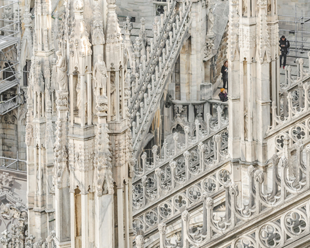 Architectural exterior detail view of famous duomo cathedral of milan city, Italy
