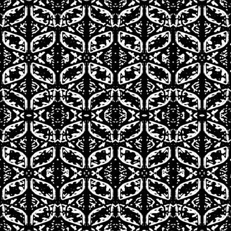 Digital collage technique ornate seamless pattern design in high contrast black and white colors Banco de Imagens