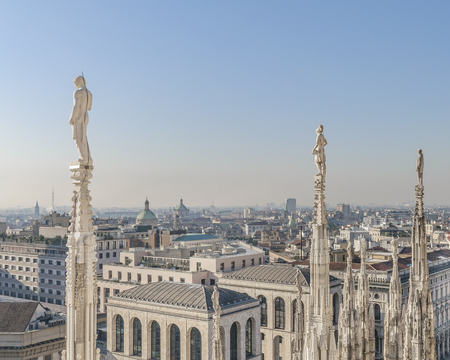 Aerial view of historic center of milan city from duomo cathedral viewpoint.