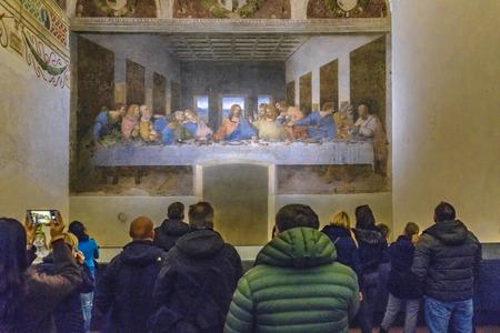 ミラノ、イタリア、1月 - 2018 - ミラノ市内のサンタ・マリア・デッレ・グラツィエ教会にあるレオナルド・ダ・ヴィンチの最も有名な最後のディナー 報道画像