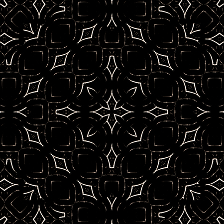 Digital abstract geometric seamless pattern background design in dark black and white colors Stock Photo