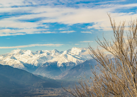 Alpes mountains aerial view from sacra san michele abbey at piamonte district, Italy