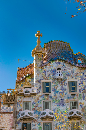 Exterior low angle detail view of batllo house, a famous gaudi masterpiece atchitecture located in barcelona city, spain