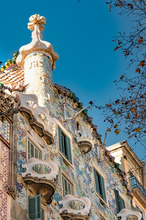 Exterior low angle detail view of batllo house, a famous gaudi masterpiece atchitecture located in barcelona city, spain Redakční