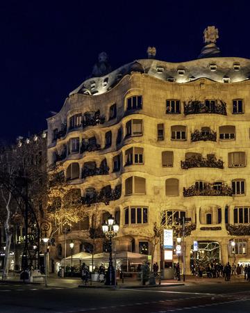 BARCELONA, SPAIN, JANUARY - 2018 - Night urban scene at passeig de gracia street in barcelona city, spain Editorial