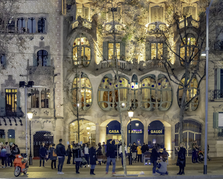 BARCELONA, SPAIN, JANUARY - 2018 - Night urban scene at passeig de gracia street in barcelona city, spain Redakční