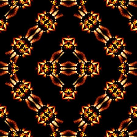 Digital collage technique ornate seamless pattern design in dark warm tones Banco de Imagens