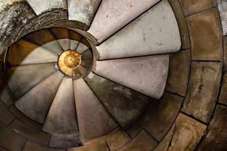 Interior view dangerous spiral staircase at famous church sacred family located in barcelona city, Spain