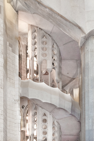 Interior view spiral staircase at sacred family church located in barcelona city, Spain