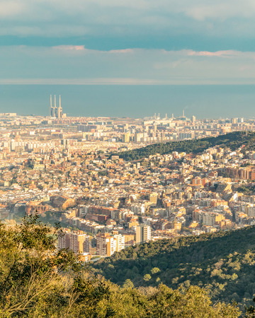 Aerial view of barcelona city from tibidabo park