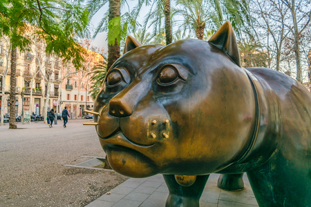 BARCELONA, SPAIN, JANUARY - 2018 - Close up botero sculpture located at famous el raval neighborhood in barcelona city.