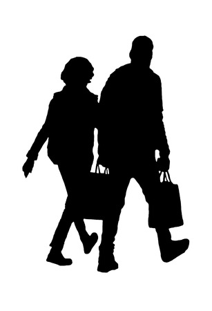 Side view couple carrying shop bags walking isolated silhouette black graphic over white background