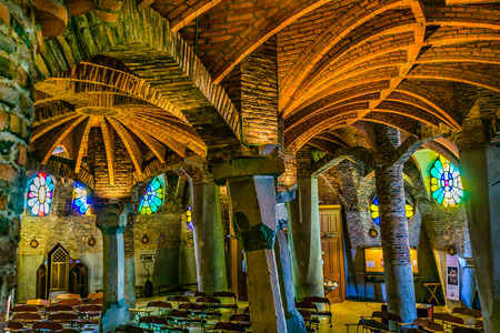 Interior view of guell crypt, a masterpiece gaudi architecture located at catalunya outside town Editorial
