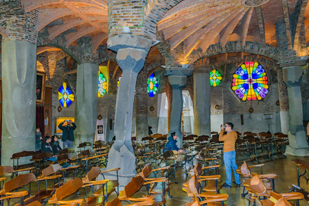 BARCELONA, SPAIN, JANUARY -2018 - Interior view of guell crypt, a masterpiece gaudi architecture located at catalunya outside town