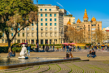 BARCELONA, SPAIN, JANUARY - 2018 - Urban winter day scene at famous catalunya square at barcelona city, Spain