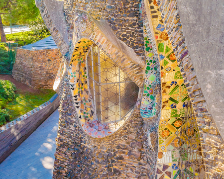 CATALUNYA, SPAIN, JANUARY - 2018 - Exterior view of guell crypt, a masterpiece gaudi architecture located at catalunya outside town Editorial