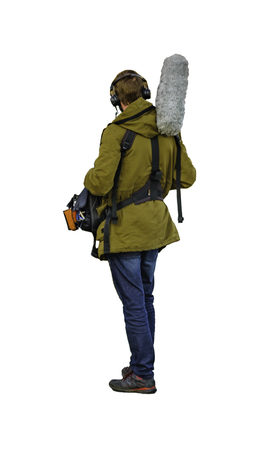 Back view shot sound engineer man isolated photo over white background