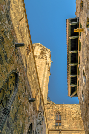BARCELONA, SPAIN, JANUARY - 2018 - Low angle view medieval buildings at gothic district in barcelona city, spain